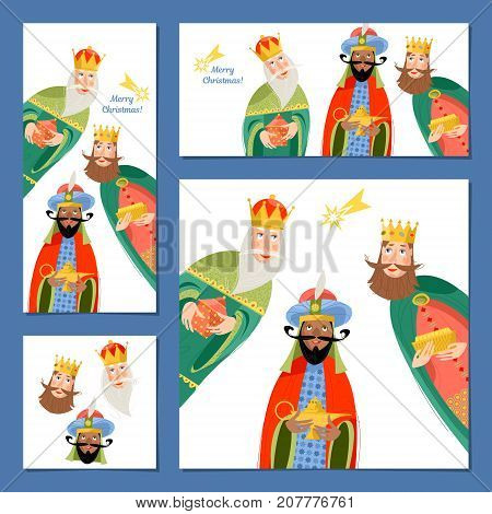 Set of 4 universal Christmas greeting cards with three biblical Kings: Caspar Melchior and Balthazar. Three wise men. Template. Vector illustration.
