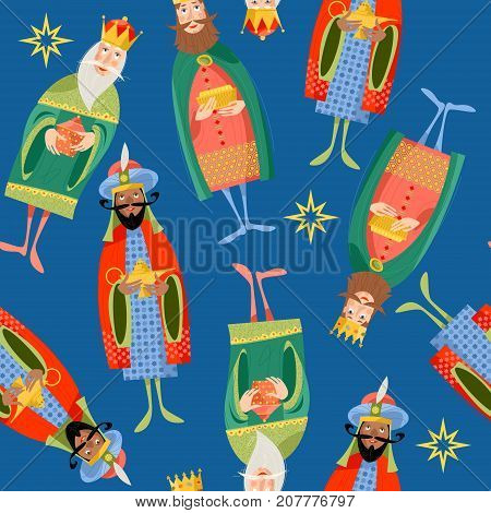 Three biblical Kings: Caspar Melchior and Balthazar. Three wise men. Seamless background pattern. Vector illustration.