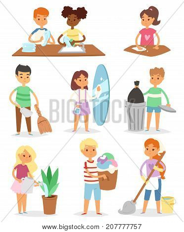 Colorful cartoon set with kids cleaning rooms and helping their mums housework characters clean up vector illustration. Children family cleaner together domestic work indoors person.