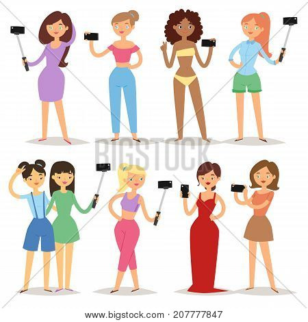 Portrait young attractive woman taking selfie photo on smartphone hipster beauty cartoon girls photograph characters vector illustration. Casual people photo self.