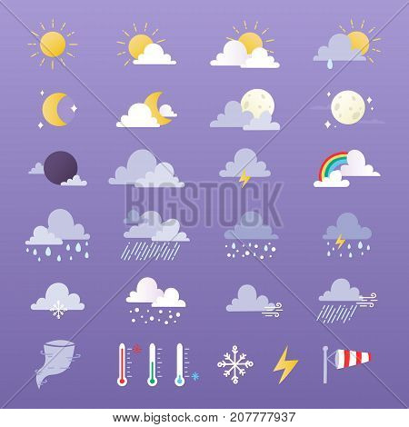 Set of weather icons vector illustration. Season thermometer design thunder temperature sign. Meteorology sky or sun nature element for web application. Sun, cloud, rain, moon and weathercock