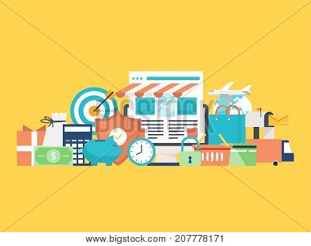 Online order, sale, e-commerce, online shopping, delivery flat vector illustration. Online store, purchasing online for web banners, websites, infographics, printed materials