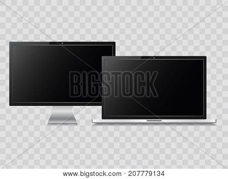 Modern monitor and laptop isolated on  transparent background .