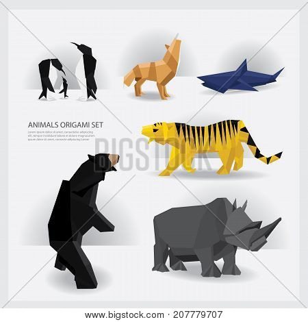 Wildlife Animals Paper Origami set Vector Illustration