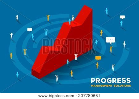 Vector Creative Illustration Of Large Isometric Red Graph Growth Up And Business People. Successful