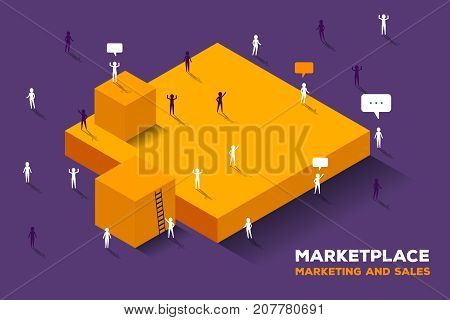 Vector Creative Illustration Of Large Isometric Yellow Cubes And Group Of Connecting Business People