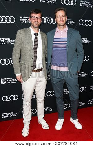 Armie Hammer (R) and HIFF Artistic Director David Nugent attend 'Call Me By Your Name' Screening at Guild Hall at the Hamptons International Film Festival on October 6, 2017 in East Hampton, New York.