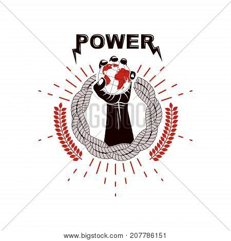 Vector logo composed using strong muscular raised arm surrounded by rope and holding Earth globe. Authority as the means of global control and manipulation.