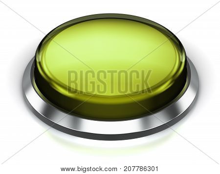 3D render illustration of the olive green glossy push press button or icon with shiny metal bezel isolated on white background with reflection effect