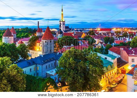 Scenic summer evening aerial view of the Old Town architecture at the Toompea Hill in Tallinn, Estonia