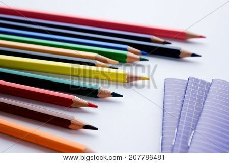 School and office supplies on a white background. creation. close-up