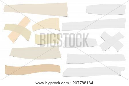Brown and white different size adhesive, sticky, scotch tape, paper pieces