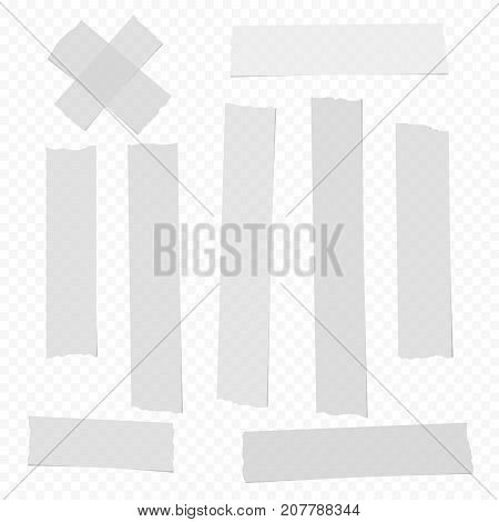 White vertical different size adhesive, sticky, scotch tape, paper pieces