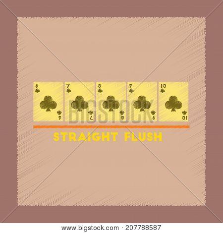 flat shading style icon poker straight flush