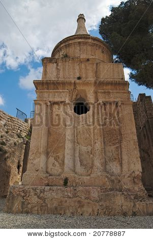 Ancient Tomb of Absalom in Kidron Valley in Jerusalem poster