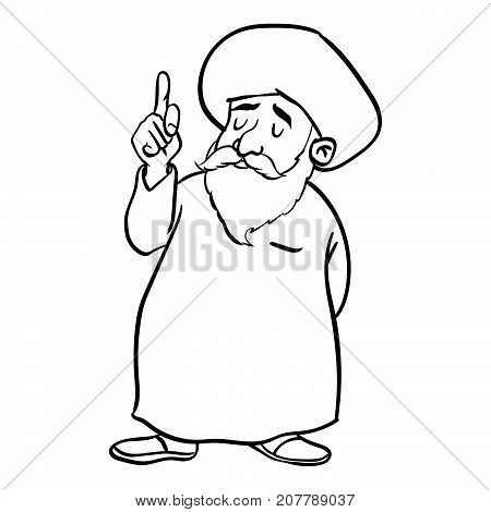 Hand drawing of Cartoon Muslim Old man standing pointer finger up isolated on white background. Black and White simple line Vector Illustration for Coloring Book - Line Drawn Vector.