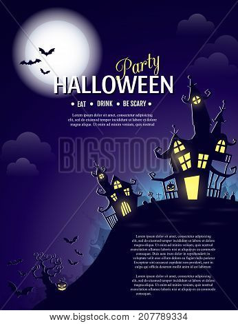 Vector Halloween party poster with creepy castle, pumpkin and cemetery. Perfect for greeting card, flyer, banner, poster templates and invitations. Vector night background.
