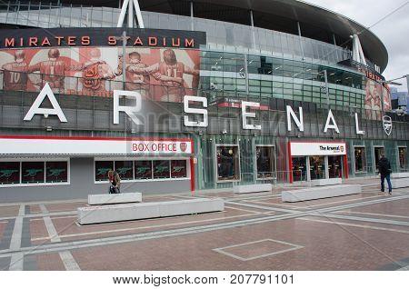 Convent London United Kingdom - 2 October 2017: Front of Arsenals Stadium