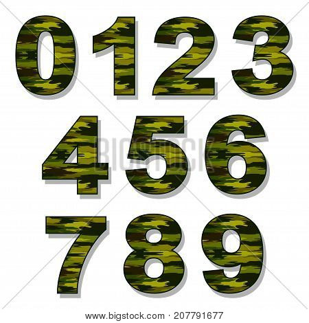 Illustration camouflage numbers on a white background.