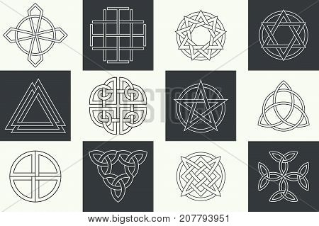 Set of ancient symbols executed in linear Celtic style. Secret signs knots interlacings. Concept of secret origin of mankind. Mascots charms executed in the form of logos. Magic signs. Vector illustration.