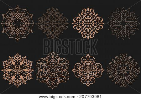 Set of circular Arabic patterns. Round ornaments with intersecting curving lines. Vector logo template labels and badges. Monogram line.