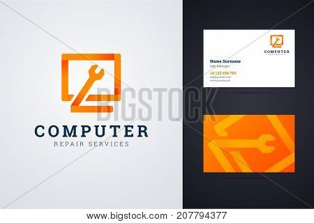 Computer repair service logo and business card template with monitor and wrench signs. Vector illustration for web or print.