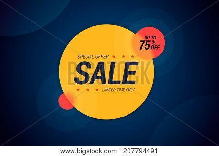 Special offer vector illustration for sale products with transparent effect. Up to 75 percents off. Limited time only.