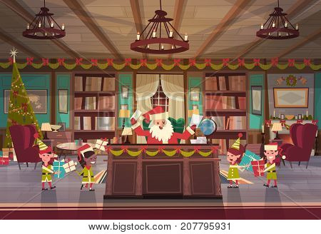 Santa Claus Working With Elfs In Office Room Getting Merry Christmas And Happy New Year Gifts And Presents, Winter Holidays Concept Flat Vector Illustration