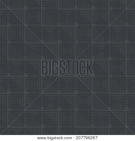 Vector seamless pattern. Modern stylish texture with intersecting thin lines which form regularly repeating tiled linear grid with striped triangles small rhombuses. Abstract geometric background