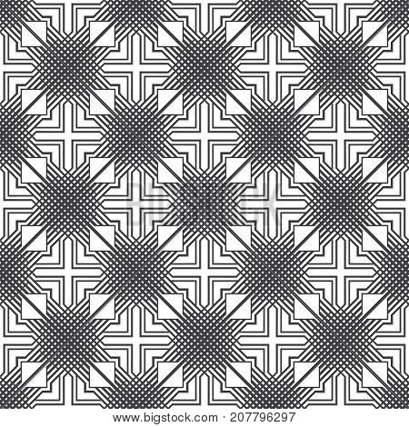 Vector seamless pattern. Modern stylish texture with intersecting thin lines which form regularly repeating tiled linear grid with rhombuses triangles crosses.
