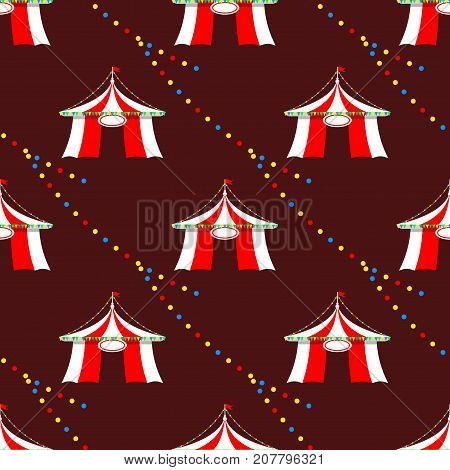 Circus tent marquee with stripes and flags carnival seamless pattern entertainment amusement elements flat vector. Entertainment red dome carnival park arena celebration.