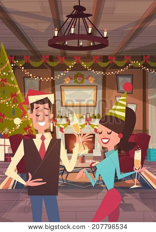 Couple Celebrate Merry Christmas And Happy New Year At Home Man And Woman Wear Santa Hats Drink Champagne Holiday Eve Party Concept Flat Vector Illustration