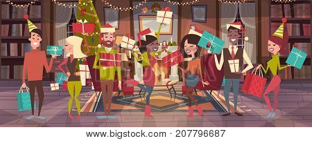 People Celebrate Merry Christmas And Happy New Year Men And Women Wear Santa Hats Hold Gift Boxes Holiday Eve Party Concept Flat Vector Illustration