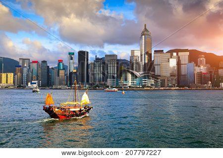 Duk Ling Ride Hong Kong harbour with tourist junk