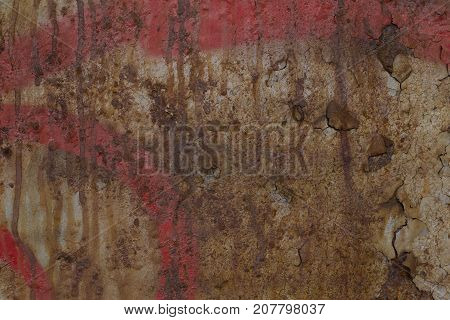 Texture of old rusty cracked painted surface wall