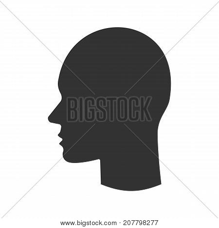 Human's head glyph icon. Silhouette symbol. Profile. Negative space. Vector isolated illustration