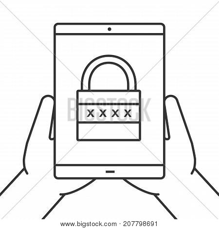 Hands holding tablet computer linear icon. Cyber security. Thin line illustration. Tablet computer with closed padlock. Contour symbol. Vector isolated outline drawing