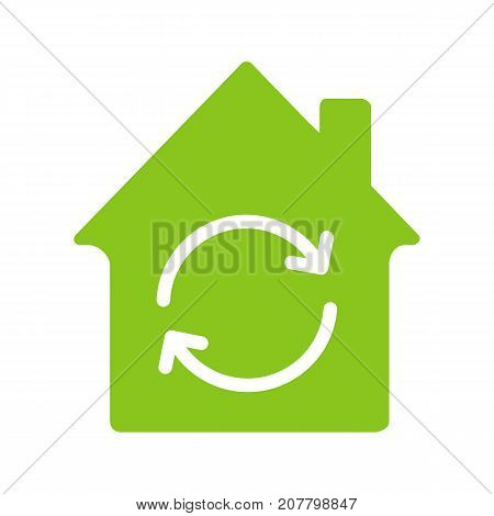 Home restoration, replacement glyph color icon. House with refresh sign. Silhouette symbol on white background. Negative space. Vector illustration poster