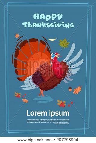 Happy Thanksgiving Day Autumn Traditional Harvest Holiday Greeting Card With Turkey Flat Vector Illustration