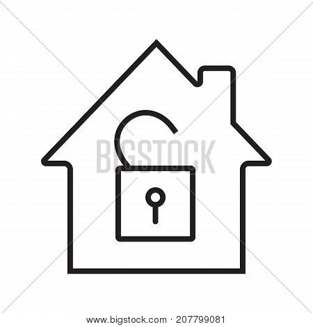 Unlocked house linear icon. Home protection. Thin line illustration. House with open padlock inside. Contour symbol. Vector isolated outline drawing