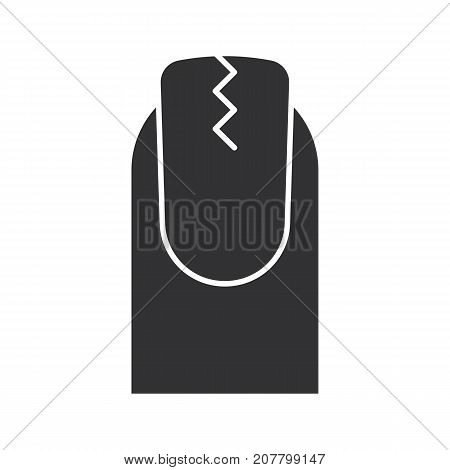 Cracked fingernail glyph icon. Silhouette symbol. Brittle nail. Negative space. Vector isolated illustration