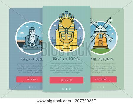 Travel composition with famous world landmarks Giza, Kamakura, Kinderdijk. Travel and Tourism. Concept website template. Vector illustration