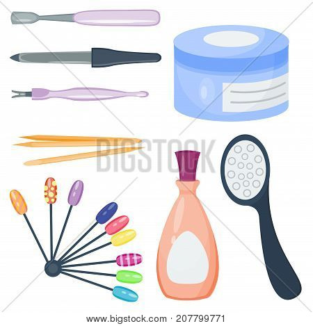 Manicure foot and hand fingers instruments set on white background top view. Hygiene hand care pedicure salon tweezers fingernail. Fashion personal cosmetics equipment vector. poster