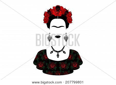 Frida Kahlo , portrait of the young beautiful mexican woman with a traditional hairstyle. Mexican crafts earrings, skull necklace and red flowers, Traditional Mexican Catrina, death's day. Vector isolated