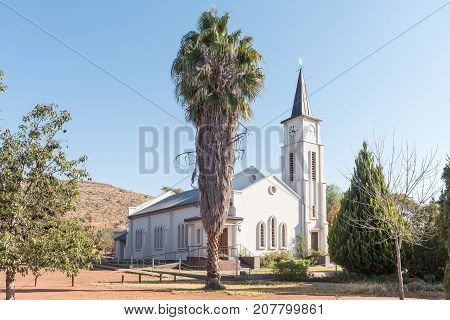 OLIFANTSHOEK SOUTH AFRICA - JULY 7 2017: The Reformed Church in Olifantshoek a town in the Northern Cape Province of South Africa