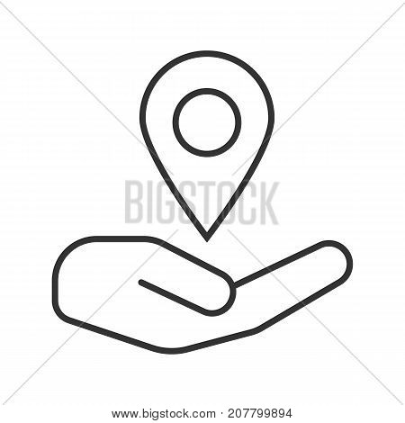 Open hand with map pinpoint linear icon. GPS navigation. Thin line illustration. Contour symbol. Vector isolated outline drawing
