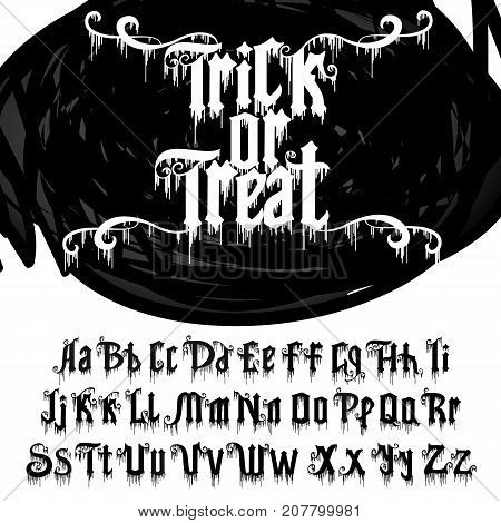 Decorative font named Trick or treat . Comic Letters. Typography for headlines, posters, logos etc. Vector alphabet.