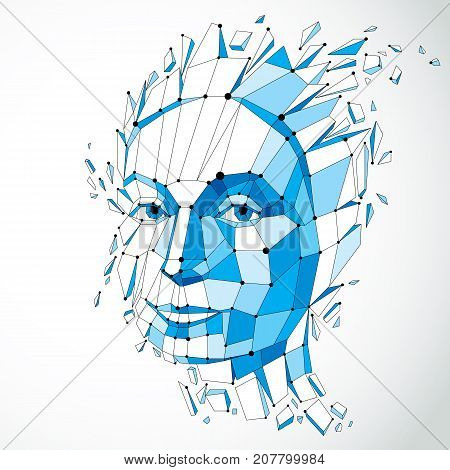 3d vector illustration of human head created in low poly style. Face of pensive female smart person. Intelligence allegory artistic deformed wireframe object broken into splinters and fragments.