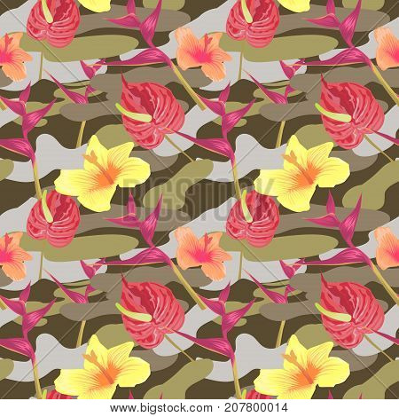 Military Seamless Pattern with Tropical Flowers. Camouflage Background. Camo Fashion Texture. Army Uniform. Vector illustration