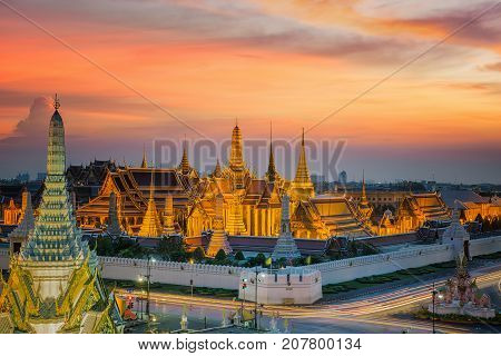 Wat phra kaew and sunset in bangkok city Bangkok Thailand Asia